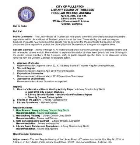 Library Agenda 4-25-18